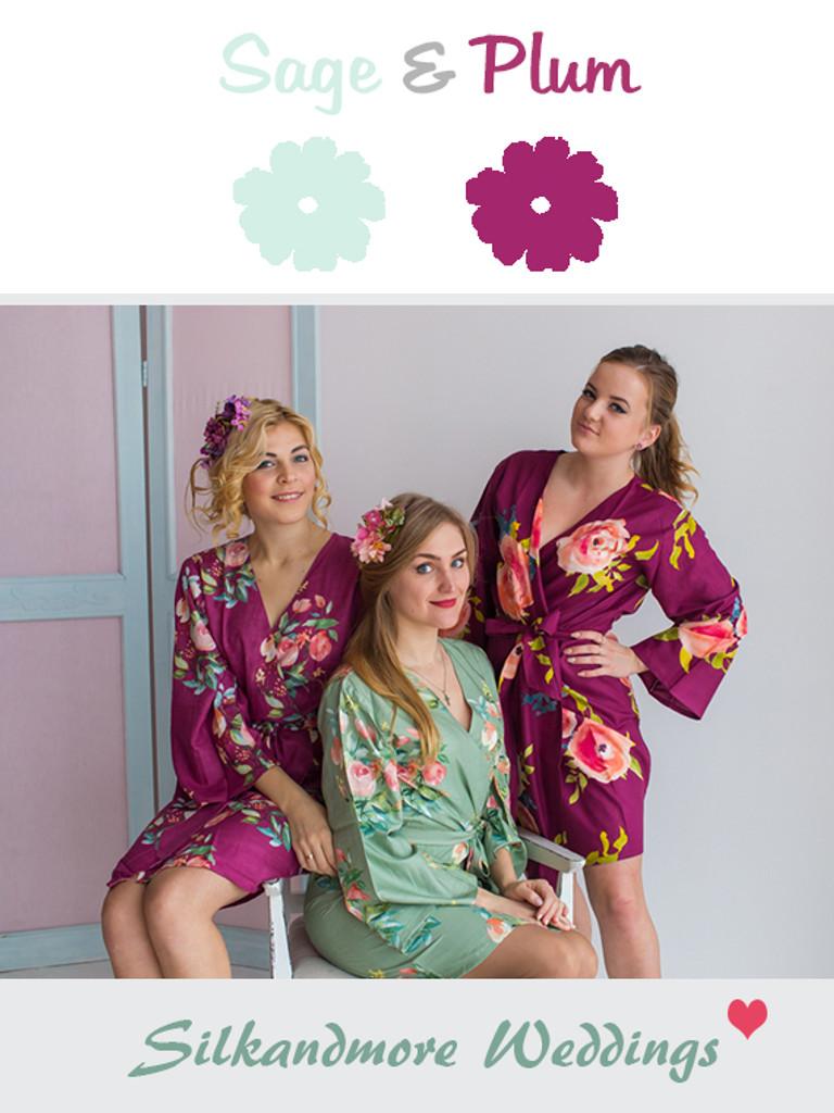 Sage and Plum Wedding Color Robes- Premium Rayon Collection