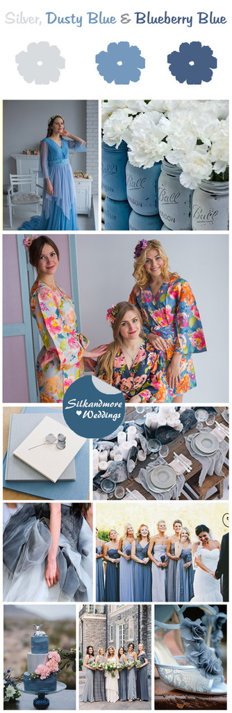Silver, Dusty Blue and Blueberry Blue Wedding Color Robes- Premium Rayon Collection