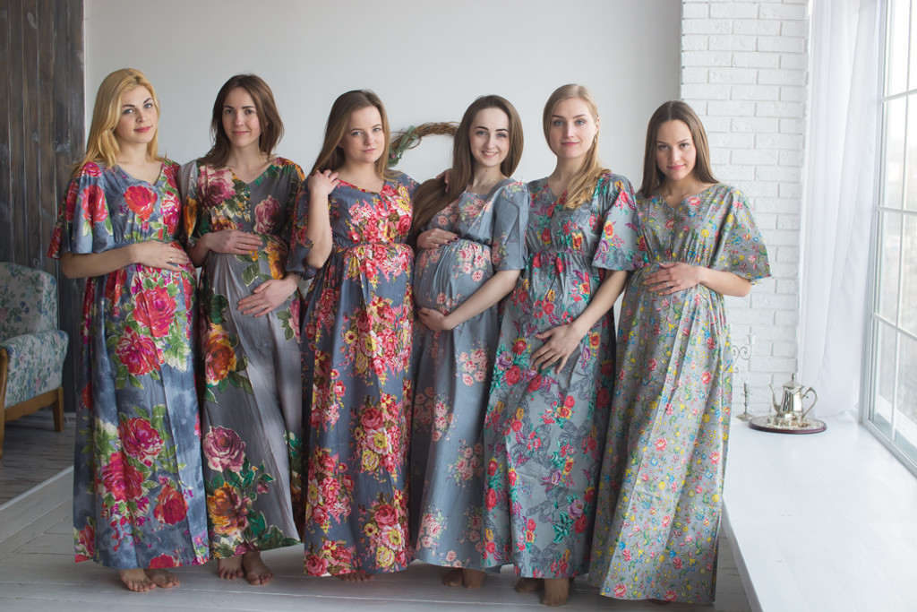 Mommies in Gray Maternity Caftans