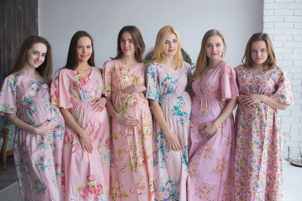 Mommies in Pink Maternity Caftans