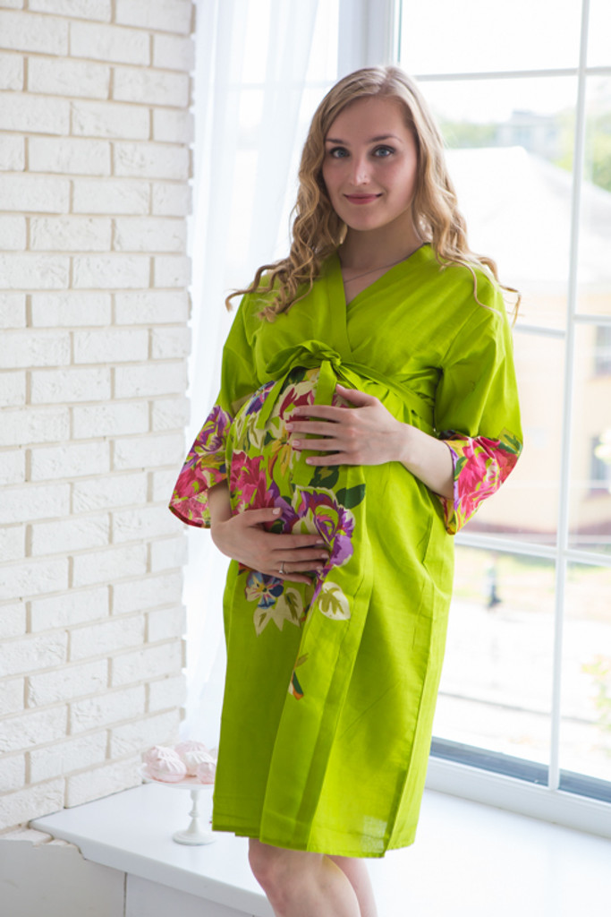 Mommies in Green Floral Robes