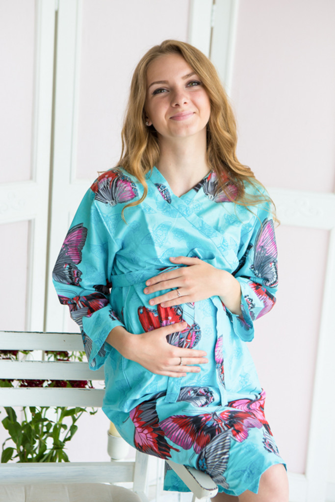 Mommies in Light Blue Abstract Patterned Robes