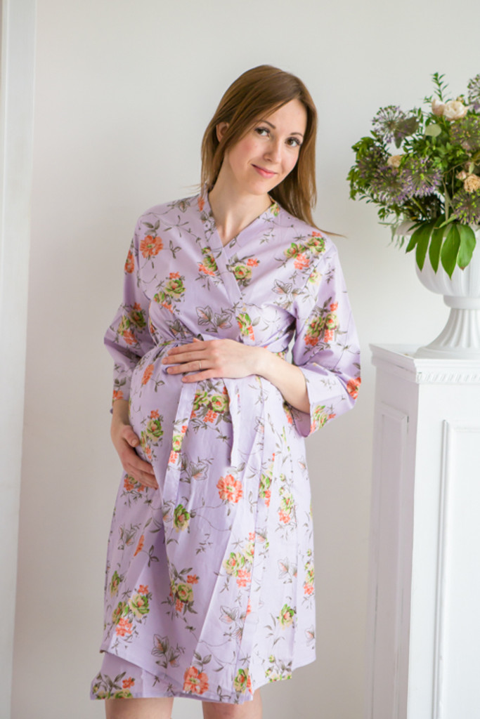 Mommies in Lilac Floral Robes