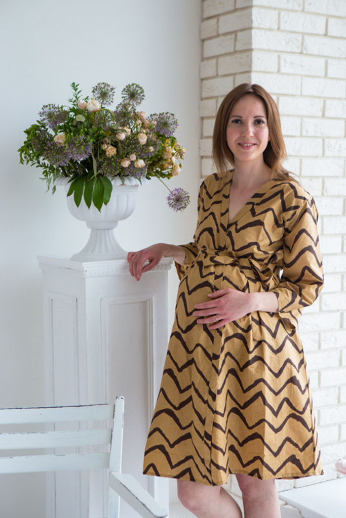 Mommies in Mocha Brown Abstract Patterned Robes