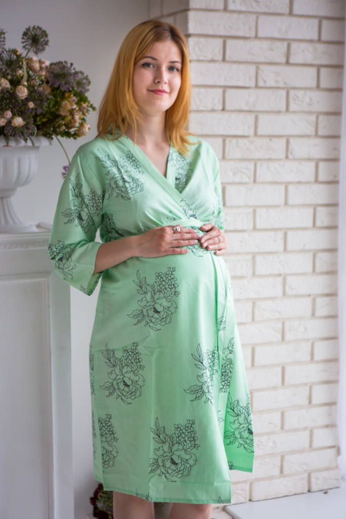 Mommies in Mint Floral Robes