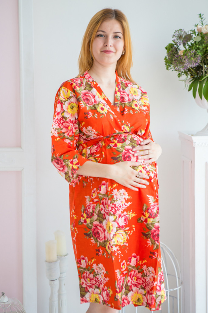 Mommies in Orange Abstract Patterned Robes