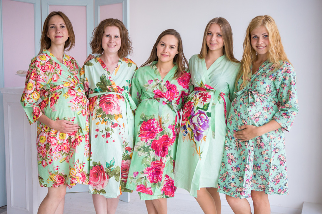 Mommies in Pastel Mint Floral Robes