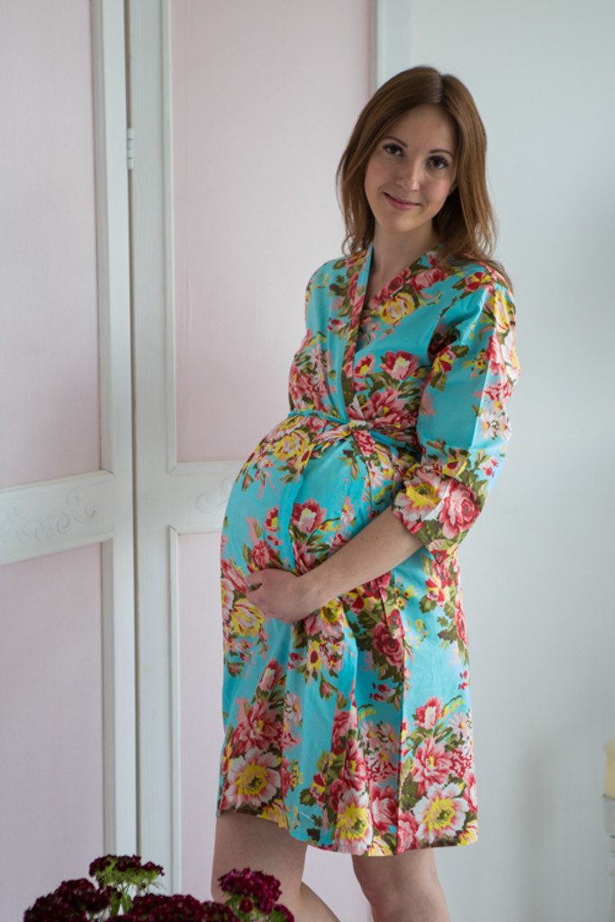 Mommies in Turquoise Blue Floral Robes