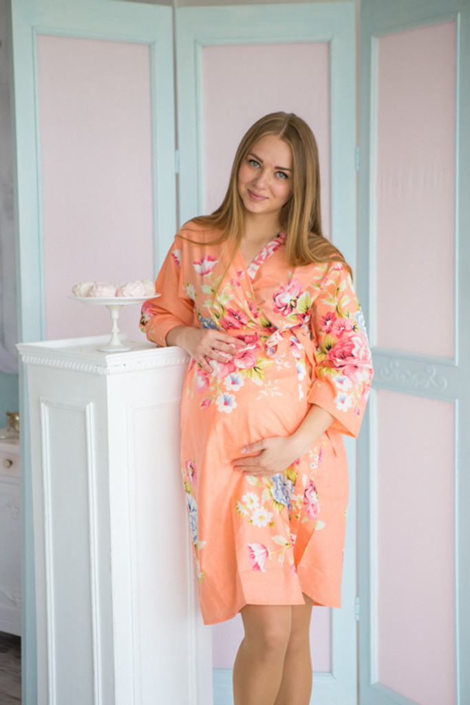 Mommies in Peach Floral Robes