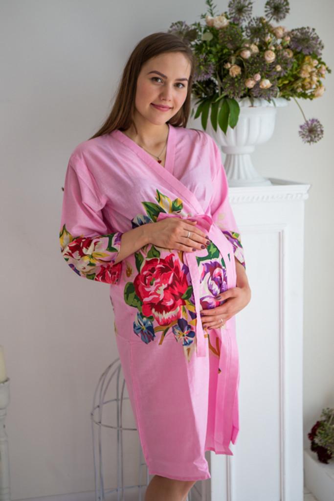 Mommies in Dark Pink Floral Robes