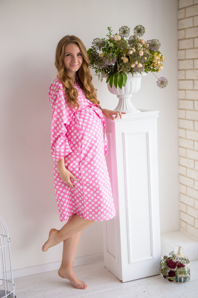 Mommies in Pink Abstract Patterned Robes