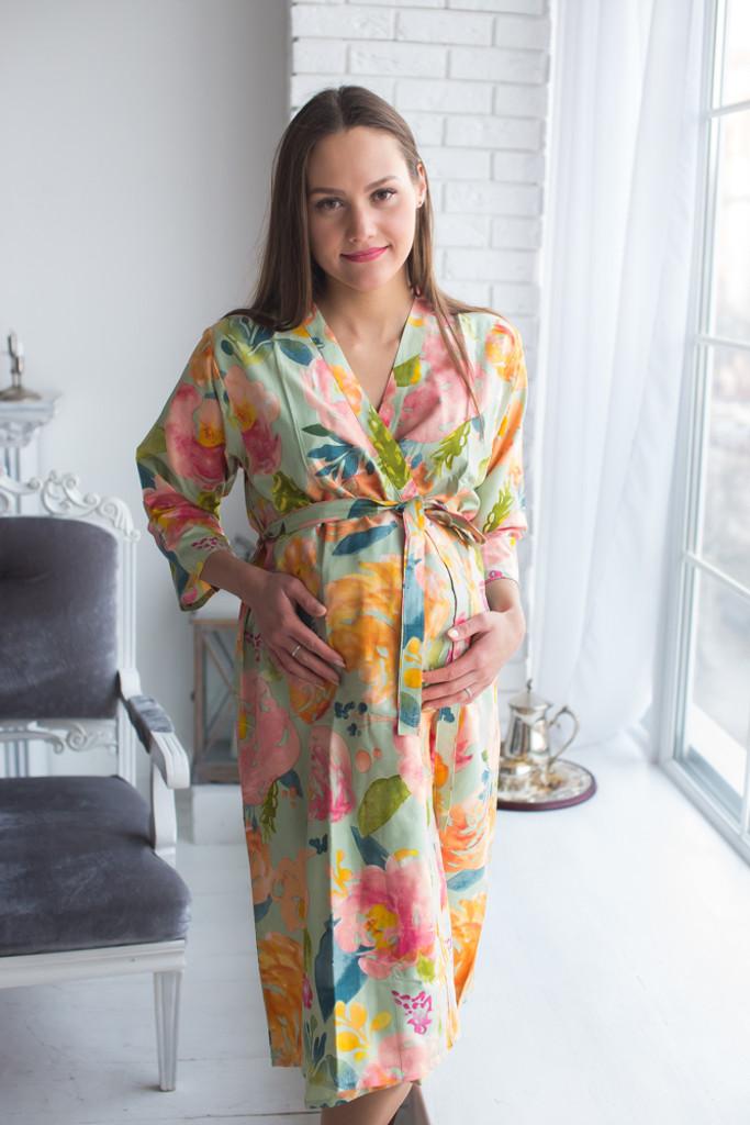 Mommies in Sage Floral Robes