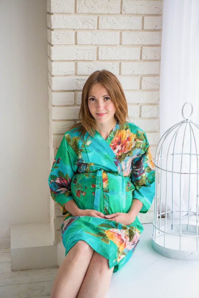 Mommies in Teal Floral Robes