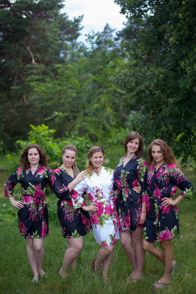 Black Large Fuchsia Floral Blossoms Robes for bridesmaids | Getting Ready Bridal Robes