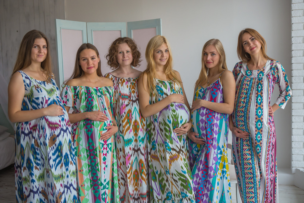 Mommies in Ikat Aztec Night Gowns