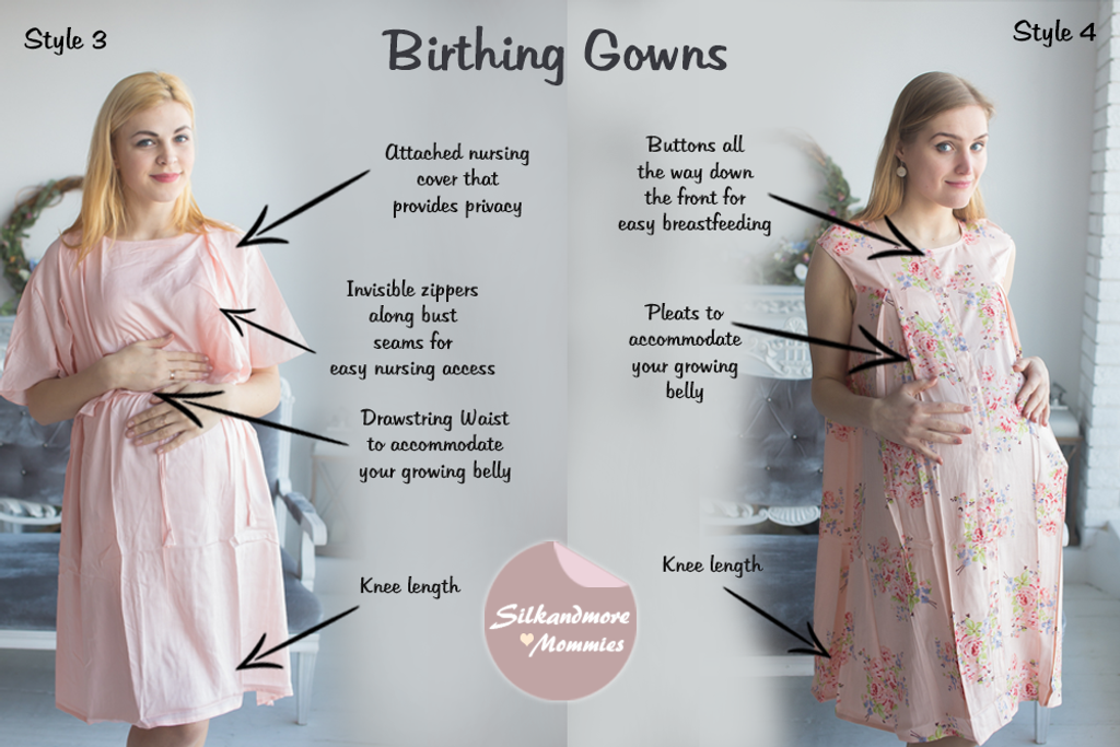 Blush Floral Birthing Gowns