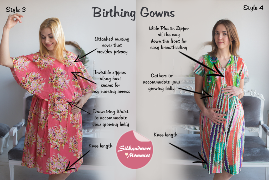 Coral Floral Birthing Gowns