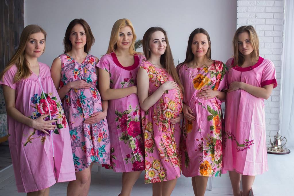 Dark Pink Floral Birthing Gowns