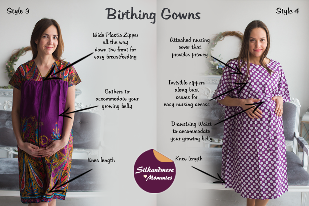 Eggplant Floral Birthing Gowns