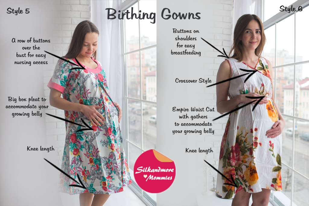 White Floral Birthing Gowns
