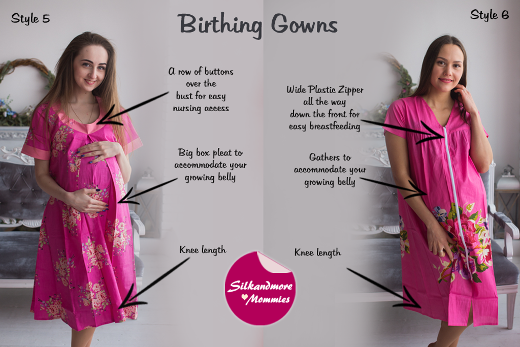 Fuschia Floral Birthing Gowns