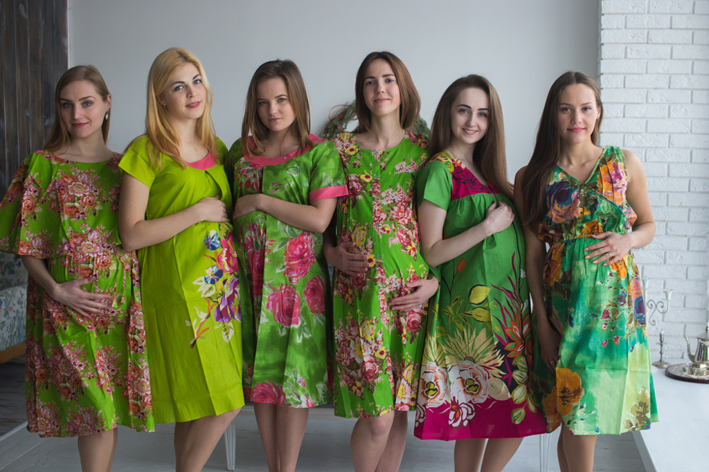 Green Floral Birthing Gowns