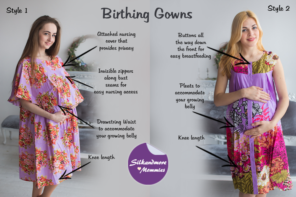 Lavender Floral Birthing Gowns