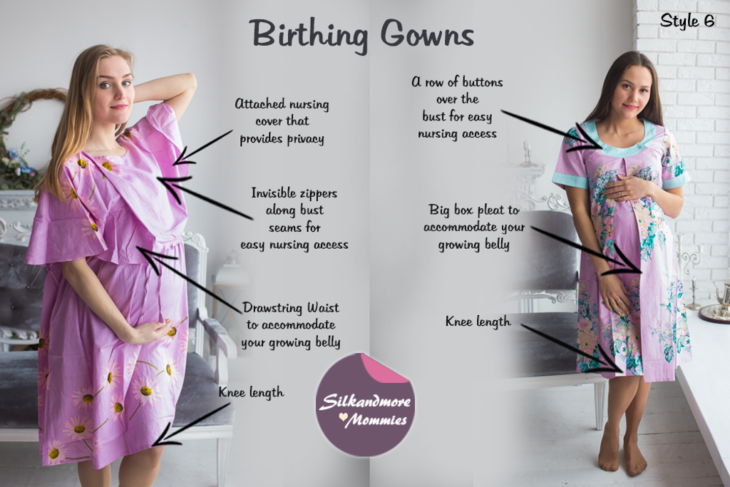 Lilac Floral Birthing Gowns