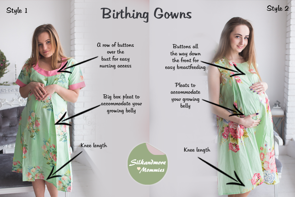 Mint Floral Birthing Gowns