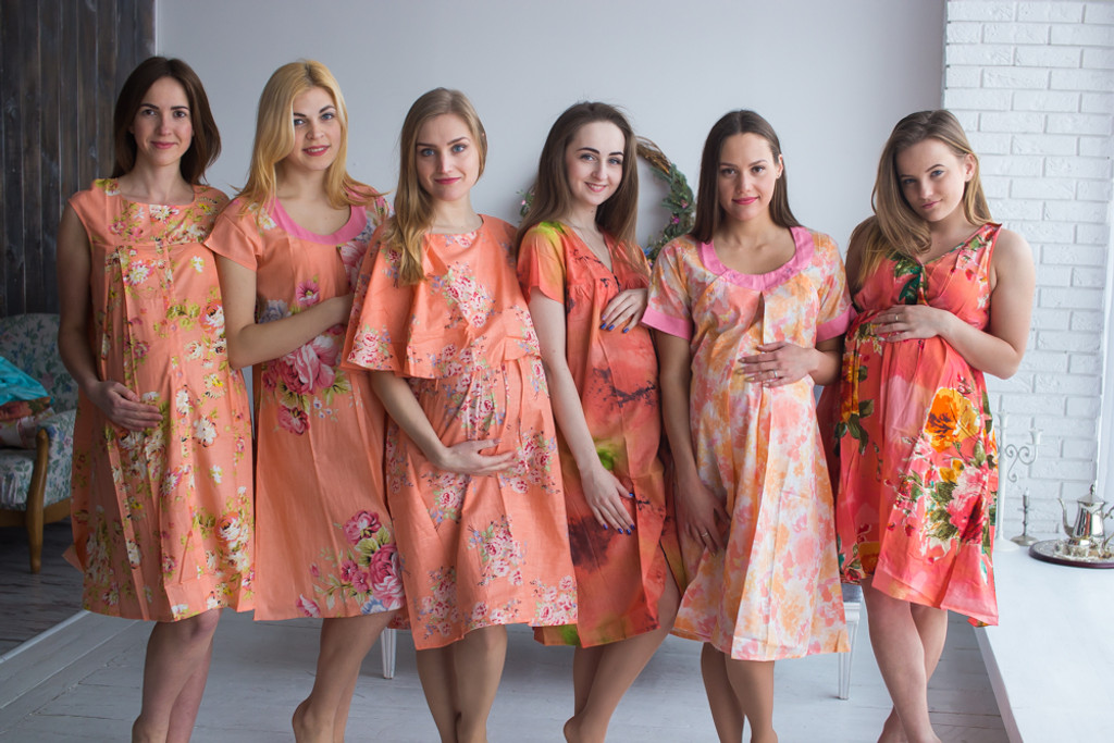 Peach Floral Birthing Gowns