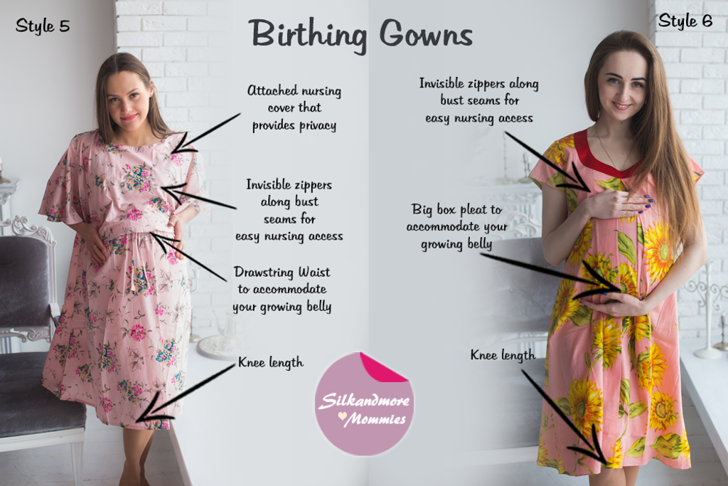 Pink Floral Birthing Gowns