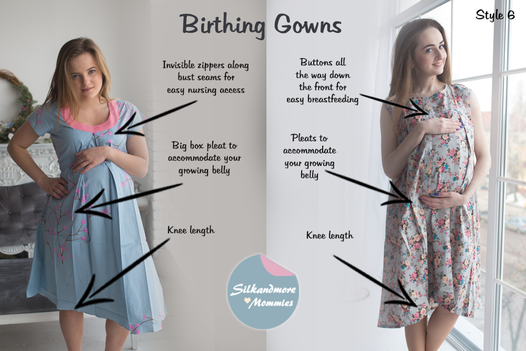 Silver Floral Birthing Gowns