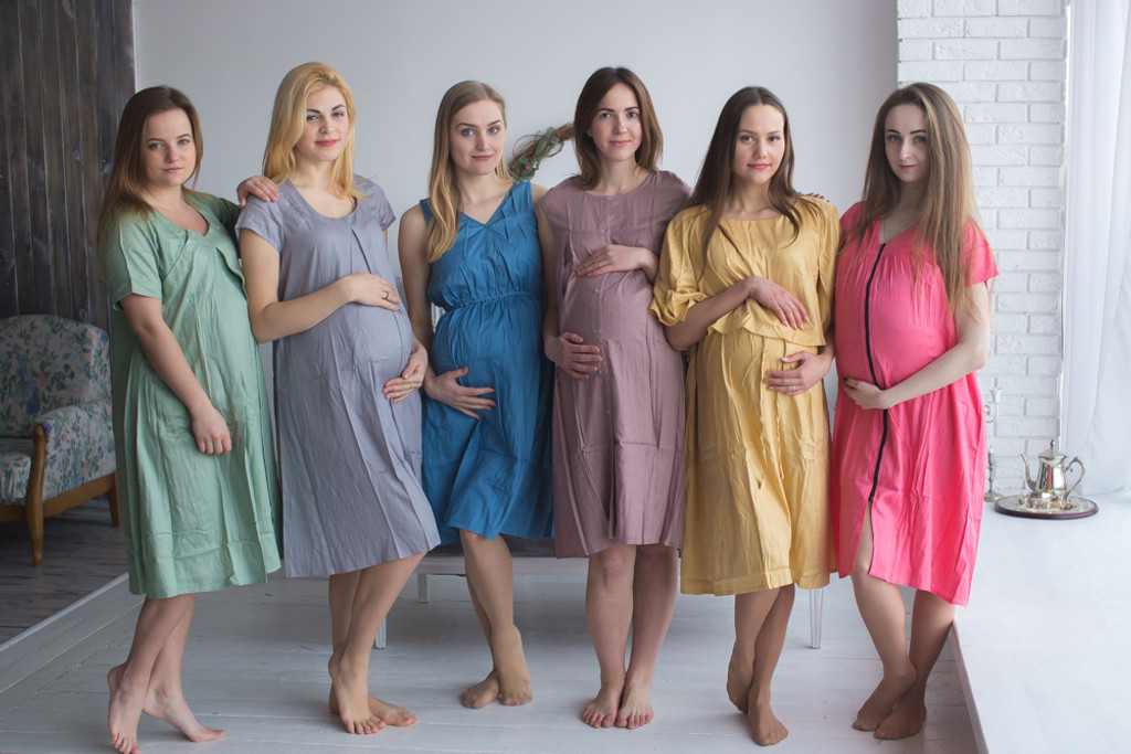 Dusty Pastel Floral Birthing Gowns