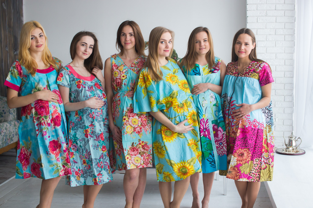 Turquoise Blue Floral Birthing Gowns