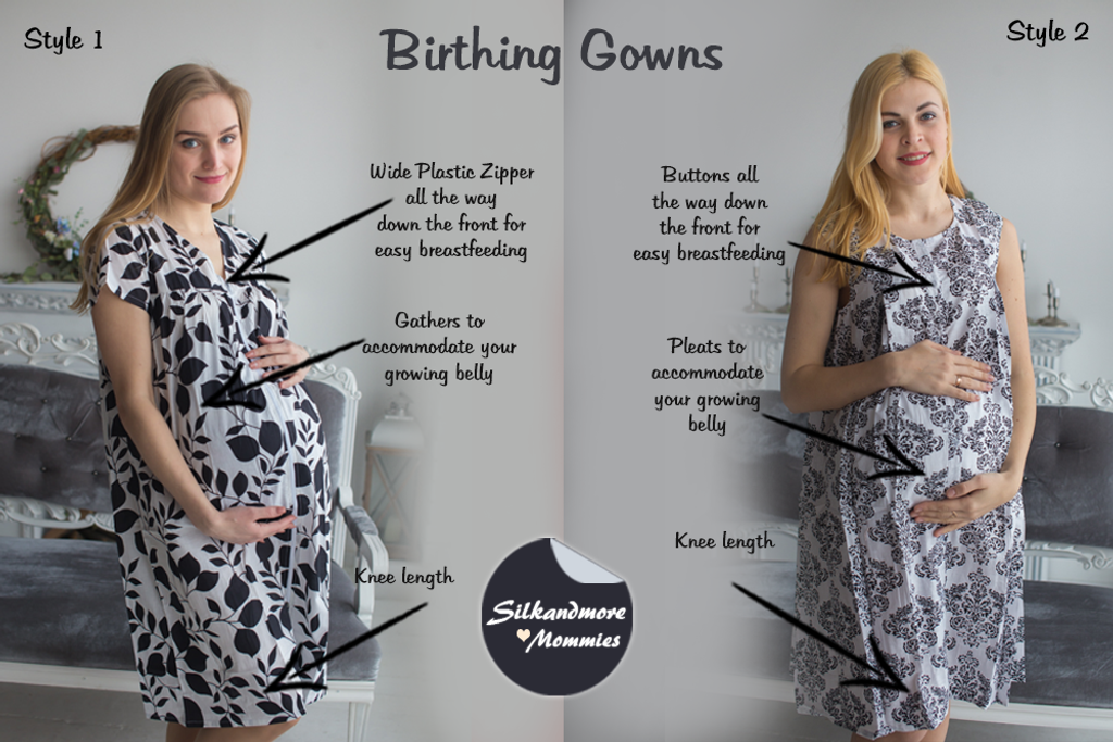 White Black Floral Birthing Gowns