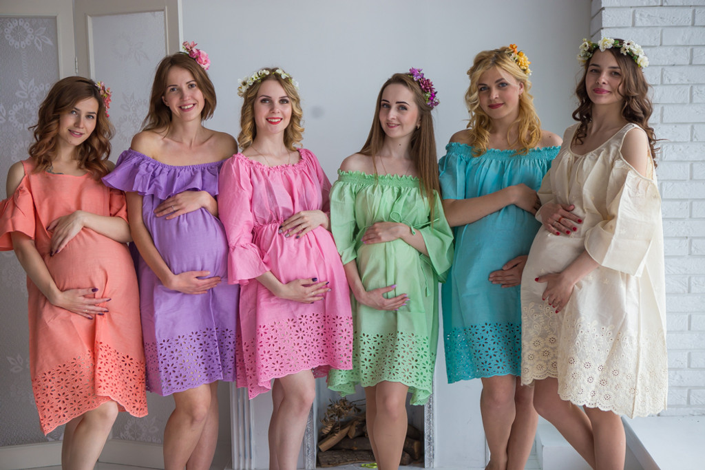 Mommies in Eyelet Shift Dresses