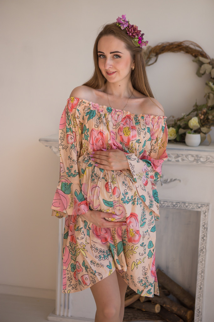 Mommies in Blush Floral Shift Dresses