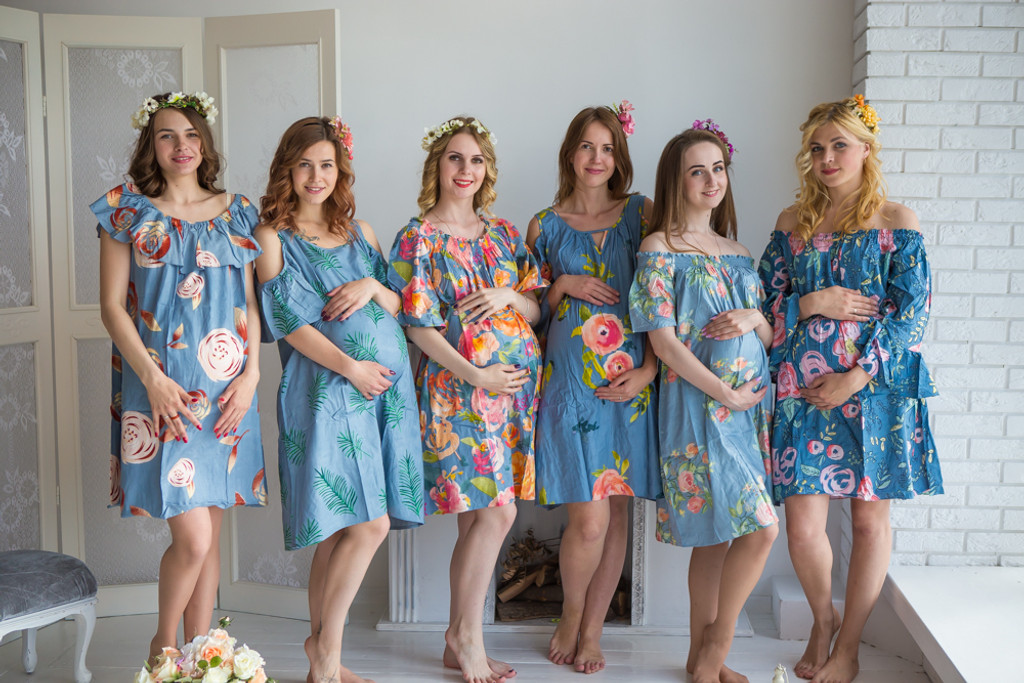 Mommies in Dusty Blue Floral Shift Dresses