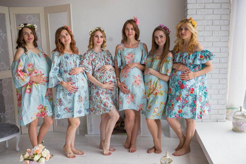 Mommies in Light Blue Floral Shift Dresses