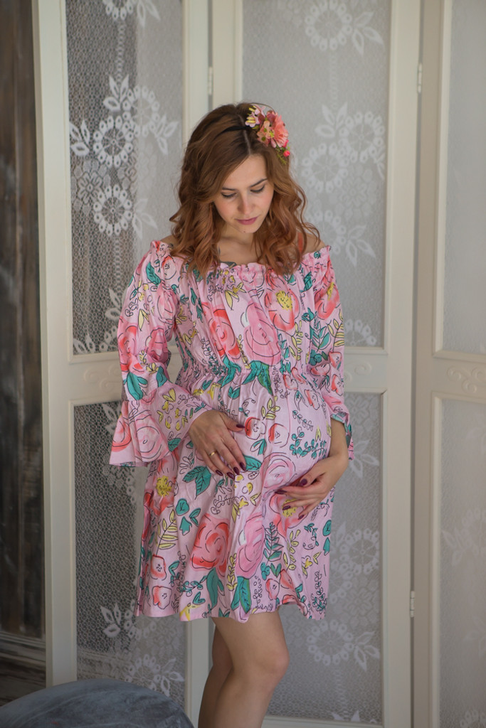 Mommies in Pink Floral Shift Dresses