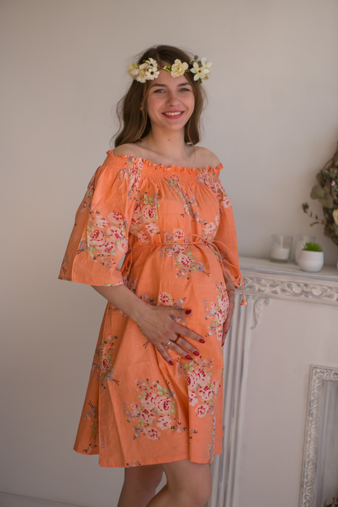 Mommies in Peach Floral Shift Dresses