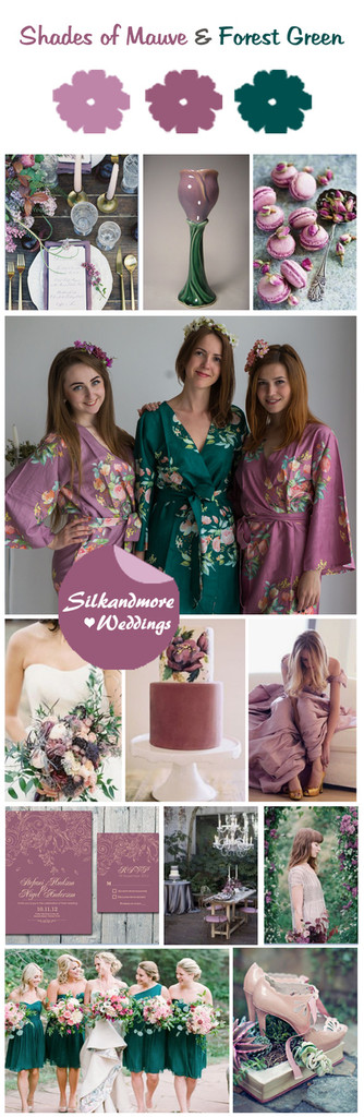 Shades of Mauve and Forest Green Color Robes - Premium Rayon Collection