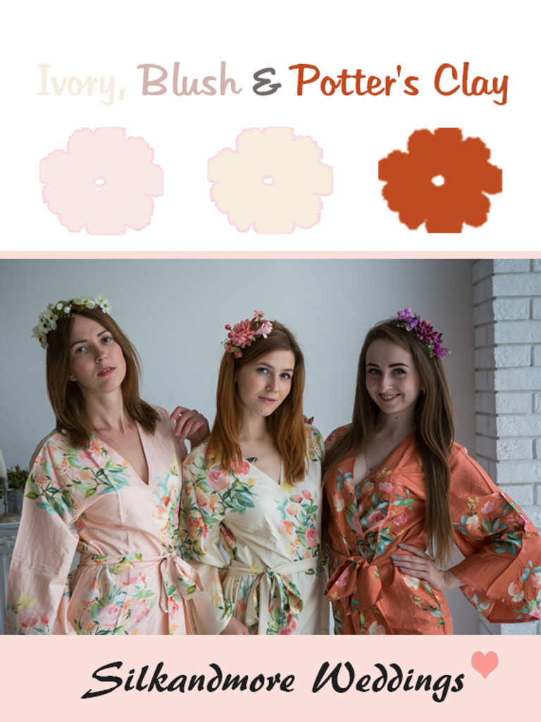 Ivory, Blush and Potter's Clay Color Robes - Premium Rayon Collection