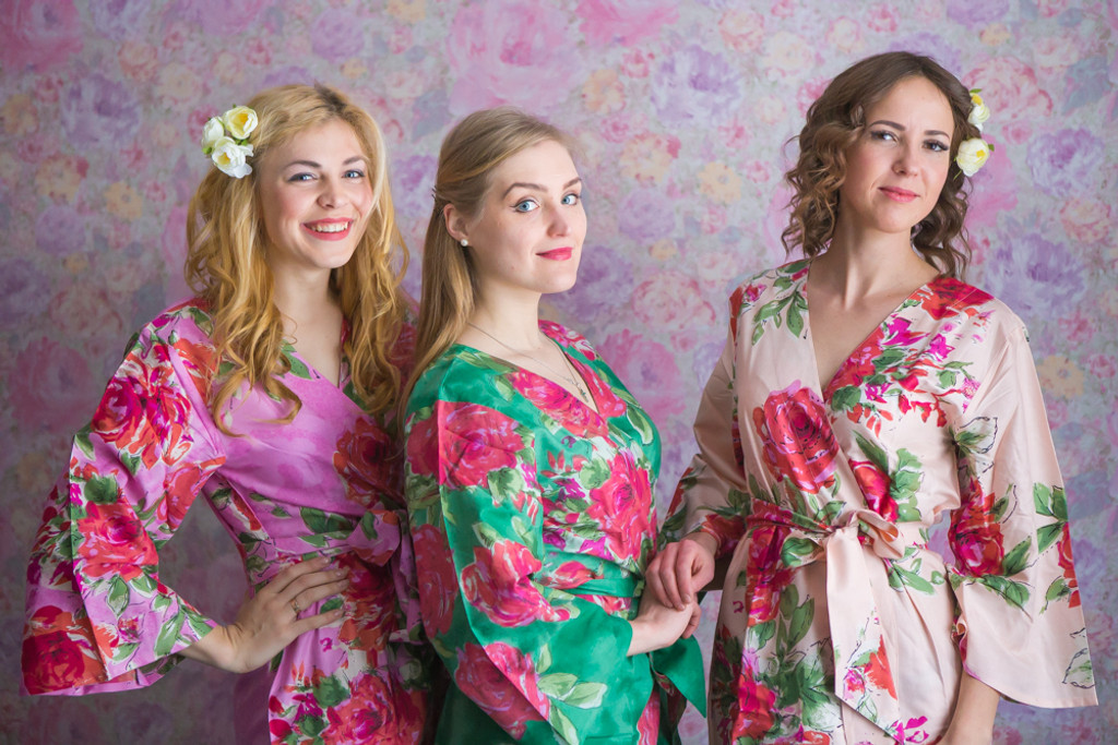 Blush, Pink and Emerald Green Color Robes - Premium Rayon Collection