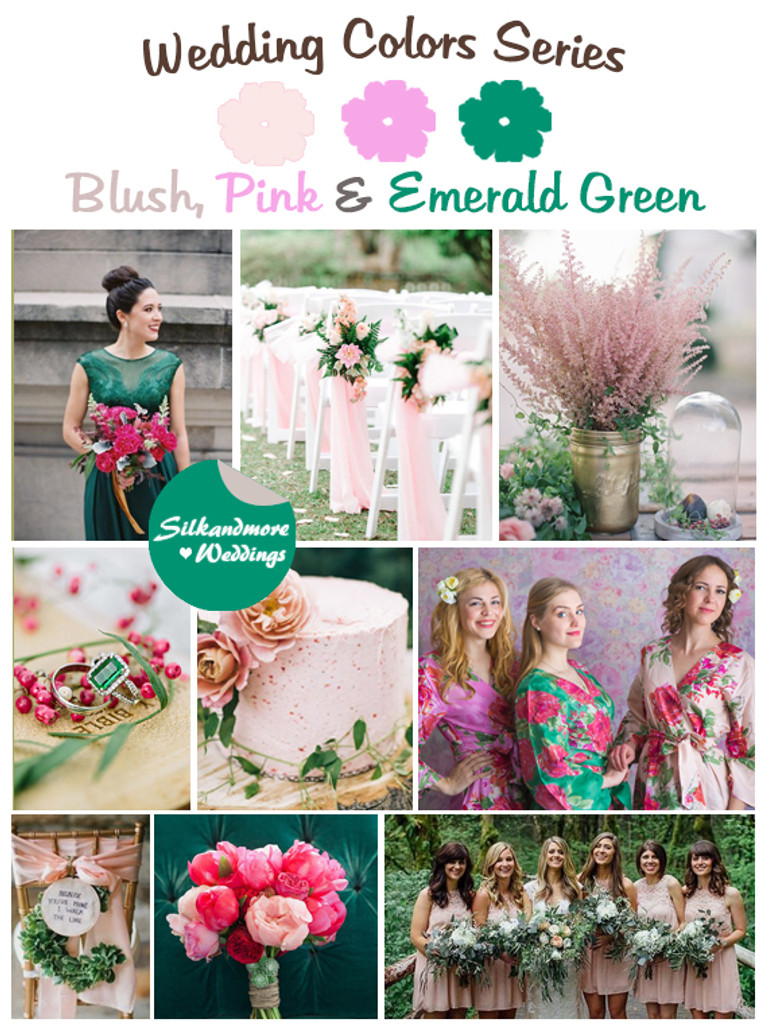 Blush Pink And Emerald Green Wedding Color Palette Robes By