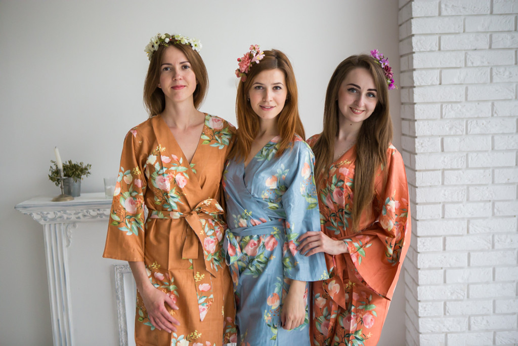 Dusky Blue, Copper and Rust Color Robes - Premium Rayon Collection