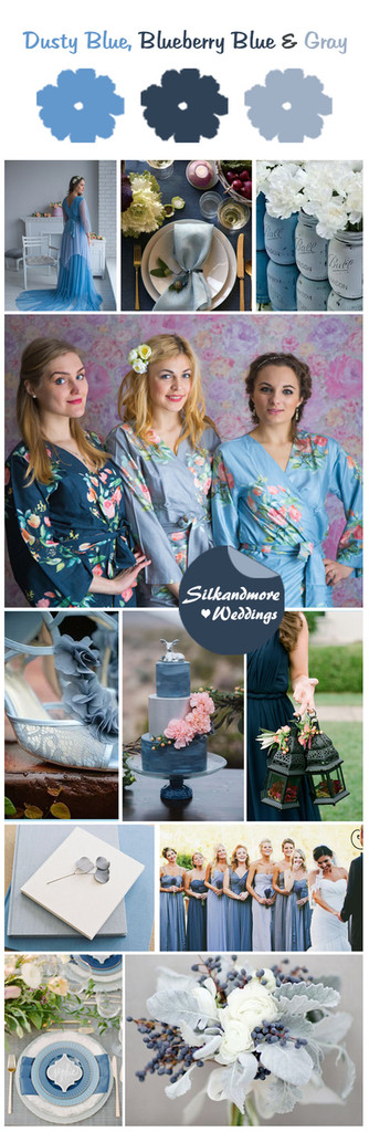 Dusty Blue, Blueberry Blue and Gray Color Robes - Premium Rayon Collection