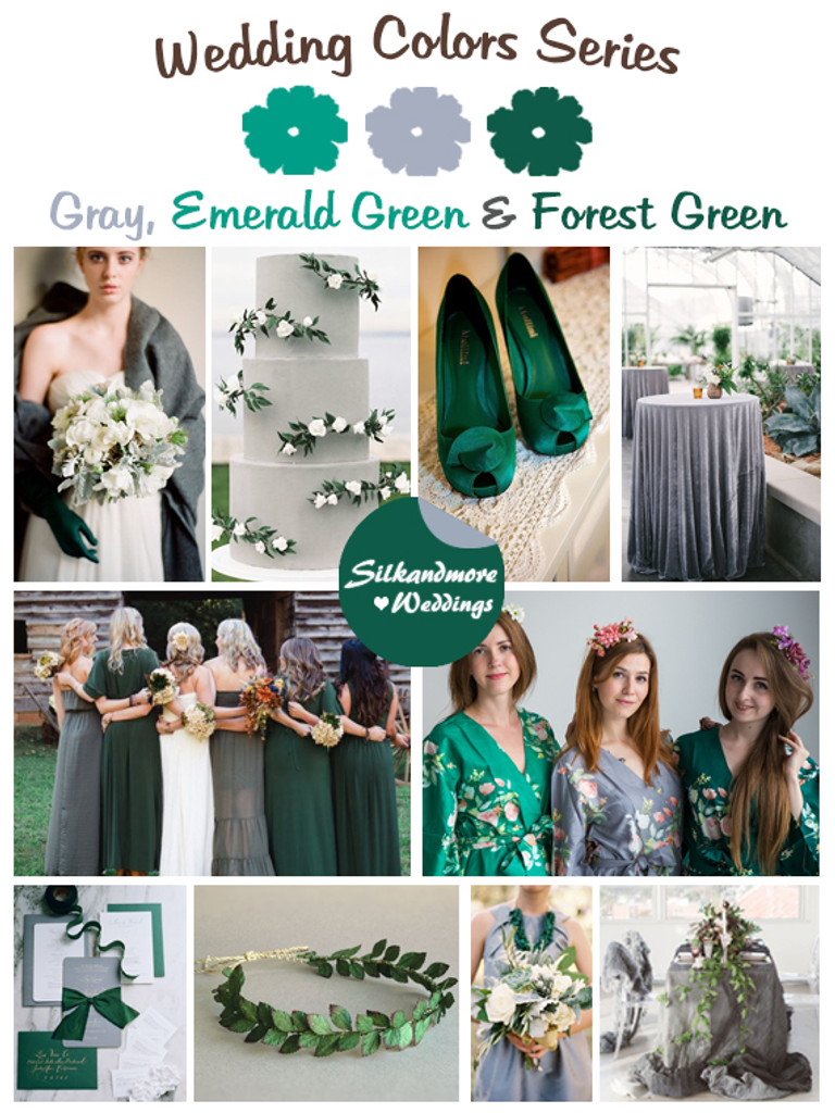 Gray Emerald And Forest Green Wedding Color Palette Robes By