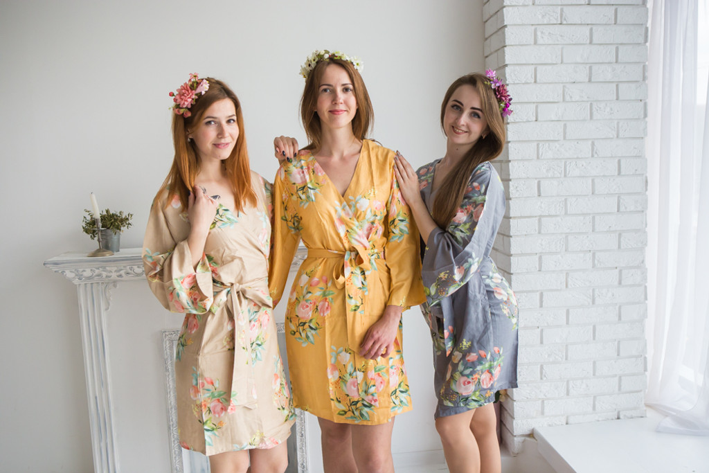 Gray, Mustard and Gold Color Robes - Premium Rayon Collection