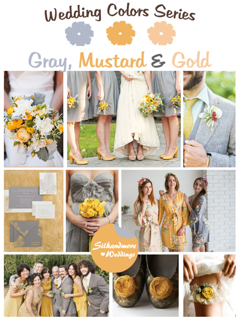 Gray Mustard And Gold Wedding Color Palette